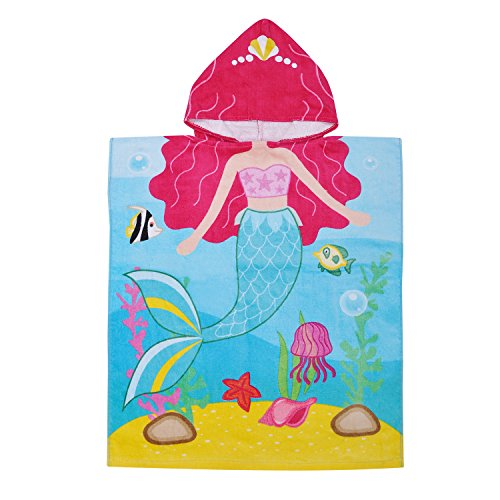 Mermaid Towel Beach Hooded - Hooded Bath Towel for 2 to 6 Years Girl,100% Cotton Water Absorption Beach Poncho Swim Changing Robe Mermaid Pattern Sand Proof