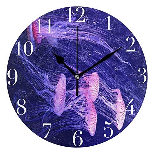 FunnyCustom Round Wall Clock Wallpaper Jellyfish Deep Sea Acrylic Creative Decorative for Living Room/Kitchen/Bedroom/Family