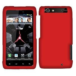 Fincibo (TM) Motorola Droid Razr Maxx XT913 XT916 XT912M Red Hard Case Snap On Rubberized Protector Cover