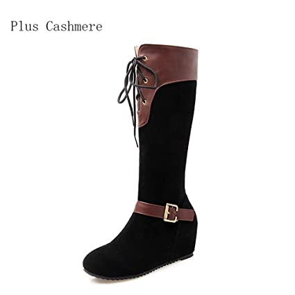 6ab0607f85e Hy Women s Boots Fall Winter Artificial PU Plus Cashmere High Boots Ladies  Flat Lace