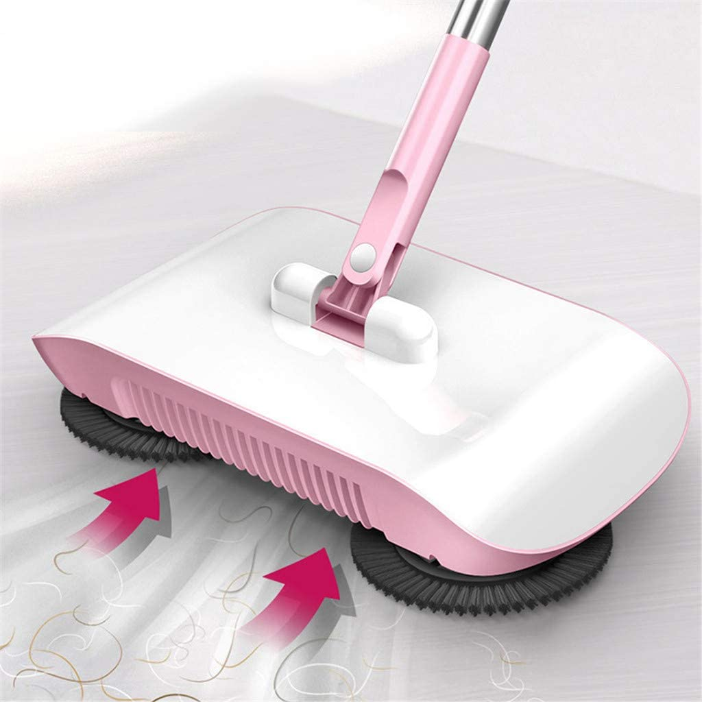 LANGMAN 2020 Household Cleaning 360 Hand Push Sweeper Home Sweeping Mopping Machine Vacuum Cleaner Pink