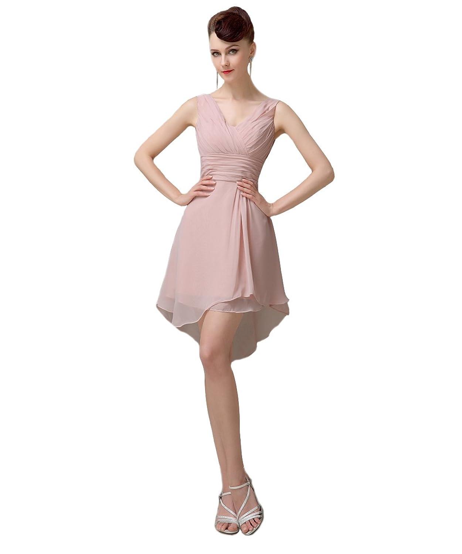 YesDress Junior Simple Off Shoulder V-neck Hi-lo Knee-length Blush Pink Bridesmaid Dresses