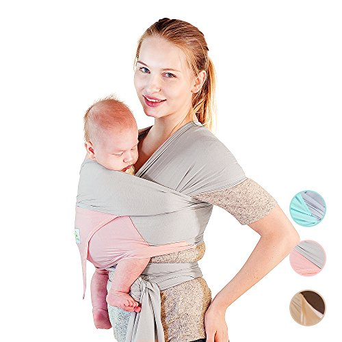 Pink Baby Sling (Beechtree Baby Modal Baby Wrap | Baby Carrier | 50% More BREATHABLE 2x Softer Than Cotton Carrier Wraps | Cool Light Stretchy Comfy Sling Wrap with Pocket | Unique Baby Gift | (Grey/Pink))