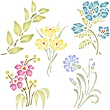 "Flower Set Stencil - (size 8.5""w x 8.5""h) Reusable Wall Stencils for Painting - Best Quality Decor Ideas - Use on Walls, Floors, Fabrics, Glass, Wood, and More…"
