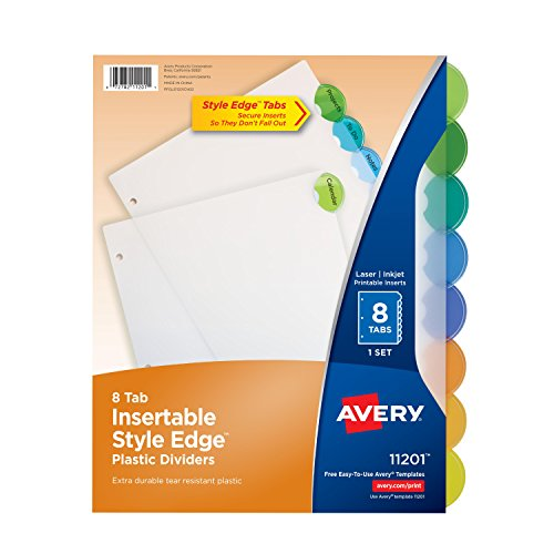 New Office School Binder Index Dividers Edge Insert