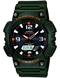 Men's AQS810W-3AVCF Solar Watch with Green Band