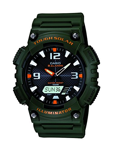 Casio Men's AQS810W-3AVCF Solar Watch with Green ()