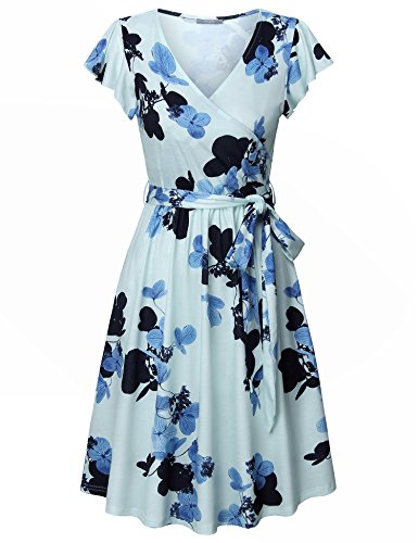 Furnex Casual Midi Dresses for Women Womens Dresses Party Dresses for Women Flutter Sleeve Dress Casual Aline Swing Dresses with Belt (Medium,Light Blue)