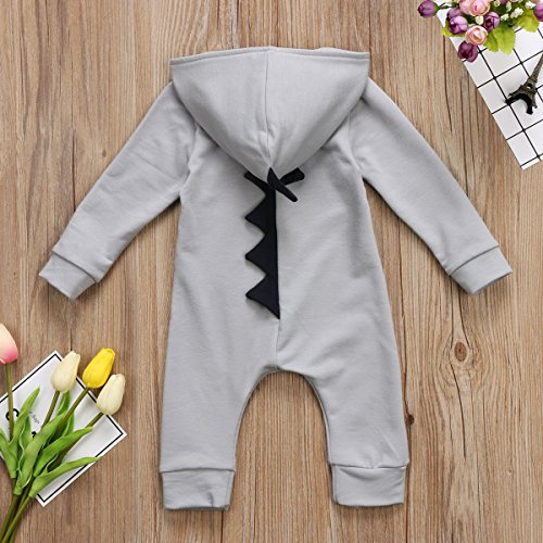 Canis Baby Boys Girls Fall Winter Zipper Long Sleeve Dinosaur Hoodie Romper One-piece Jumpsuit Outfits