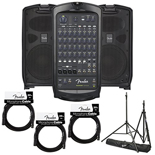 Fender Passport Portable Audio PA System with Pair of Stands & 3 Mic Cables (VENUE)