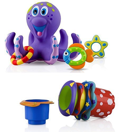 Nuby Bathtime Fun Bath Toys, Octopus Hoopla, Purple and Splish Splash Bath Time Stacking Cups