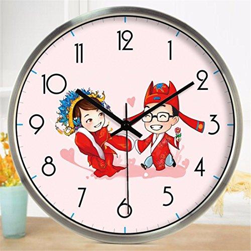 Imoerjia Wall Clock Ancient Costume Couples Cartoon Clocks Bedroom Decor Mute Wall Clock 12 -