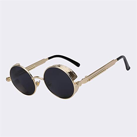 e787f1a3f8 Gothic Sunglasses POLARIZED Men Steampunk Round Metal Frame Sun Glasses  Eyewear UV400 C1 Gold w black