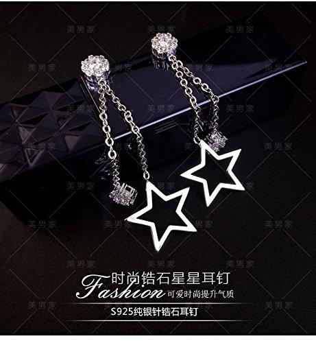 Generic S925 silver earrings pearl earrings fashion earring eardrop dangler earrings ear wire lying in the window looking at the stars