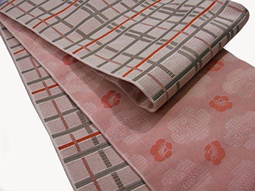 説明薄いローブ半巾帯 小袋帯 両面長尺細帯 格子柄