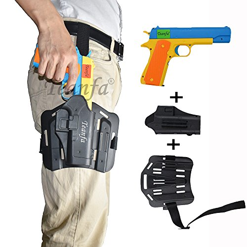 Teanfa Classic m1911 Toy Gun and Thigh Tactical Gun Holder,Kids Colorful Toy Gun with Soft Bullets,Teach Shooter and Gun Safety,Fun Outdoor Game for Dart Gun