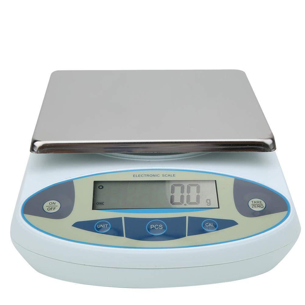 Balanza analítica de laboratorio, 10kg 0.1g 100-240V Balanza digital portátil Balanza electrónica Con la función de pesaje de tara, la función de conteo (PCS) adecuada para laboratorio(EU)