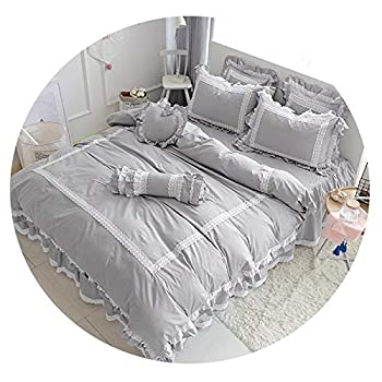 Image of Cotton White Blue Grey Bedding Sets for Girls Queen Twin King Size Duvet Cover Bed Sheet Bed Skirt Set Pillowcase,2,Queen Size 4pcs Home and Kitchen