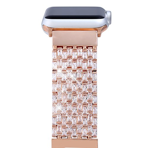 Price comparison product image Apple Watch Band, FresherAcc Luxury Zircon Stones Replacement Strap for iWatch All Series Crystal Rhinestone Diamond Watch Bracelet Wristband Stainless Steel Band (38MM Rose Gold)