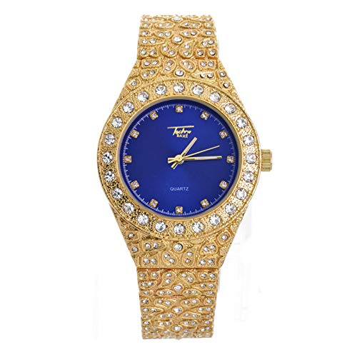 Men's Iced Out Rapper Gold Plated Nugget Metal Band Watches WM 8717 GBL