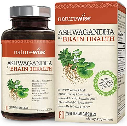 NatureWise Ashwagandha for Brain Health | Natural Nootropic Superblend | KSM 66 Ashwagandha Organic Extract to Boost Memory, Clarity, Focus, & Stress (⬇ Watch Video in Images) [1 Month - 60 Count]
