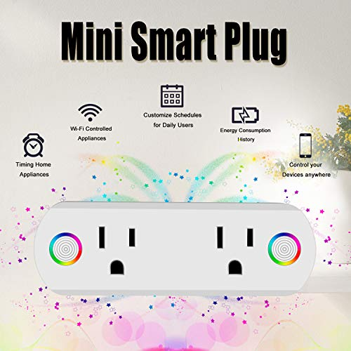Wifi Smart Plug, Elegant Choise Smart Outlet with Dual Outlets Mini Smart  Switch Work with Amazon Alexa Google Assistant IFTTT Remote Control for