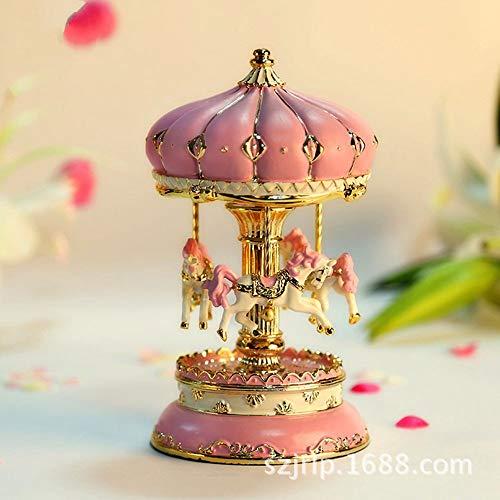 (SHANYYH Trojan Music Box Castle Carousel Music Box Castle in The Sky Gift Birthday Music Box, X, 9X15.5Cm)