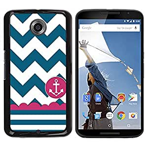 Impact Case Cover with Art Pattern Designs FOR NEXUS 6 / X / Moto X Pro Sailor Seaman Ship Anchor Teal White Betty shop