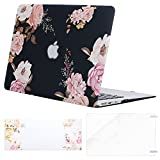Mosiso Plastic Pattern Hard Case & Keyboard Cover & Screen Protector Compatible MacBook Air 13 Inch (Models: A1369 & A1466, Older Version Release 2010-2017), Peony on Transparent Black Base