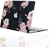 MOSISO Plastic Flower Pattern Hard Case Shell with Keyboard Cover with Screen Protector Compatible MacBook Air 13 Inch (Model: A1369 and A1466), Peony on Transparent Black Base