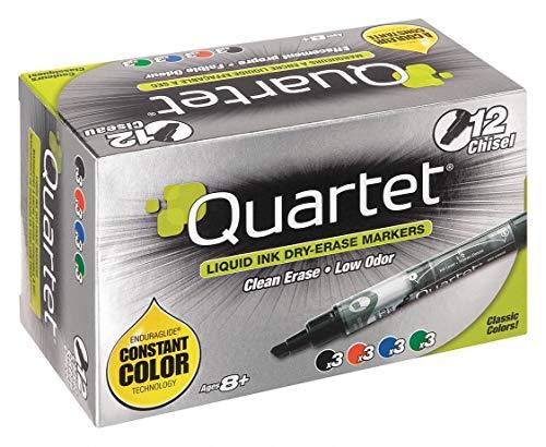 Quartet Chisel-Tip Dry Erase Marker, (3) Blue, (3) Black, (3) Green, (3) Red, pkg. of - Quartet Markers Blue Erase Dry