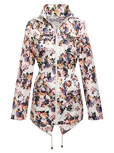 Chaos Theory Women's Hooded Floral Print Rain Mac Parka Fishtail Showerproof Jacket Cream 4