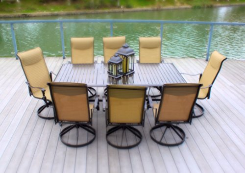 Cheap 9pc Cast Aluminum Swivel Patio Furniture Dining Set with Slat Top Table – Bronze