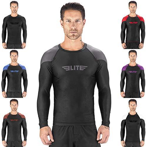 Jiu Jitsu Rash Guards - Elite Sports New Item Full Long Sleeve Compression, MMA, BJJ, No-Gi, Cross Training Rash Guard (Gray, Medium)