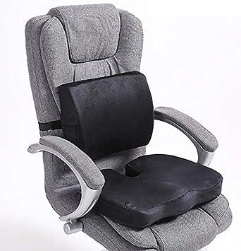 Sitzkissen und Lordosenst/ütze 2er Set f/ür Auto B/ürocomputer Stuhl Rollstuhl Premium Memory Foam Sitzkissen und R/ückenst/ützkissen mit verstellbarem Riemenr/ücken Ischias Schmerzlinderung