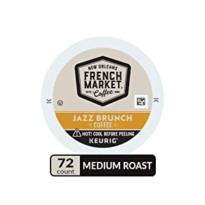French Market Coffee, Jazz Brunch Blend, Single Serve Coffee K-Cup Pods, Medium Roast, 12 Count (Pack of 6)
