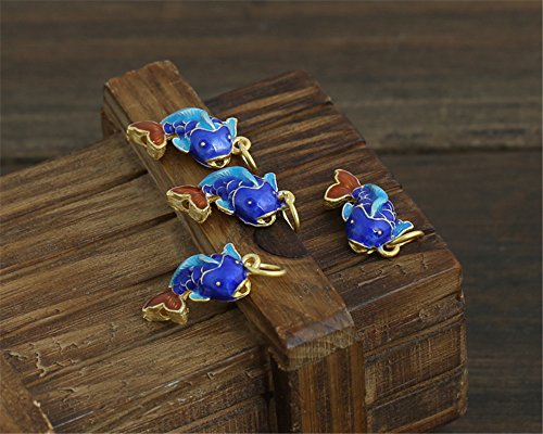 (MFMei 925 Sterling Silver Fish Filigree Golden Plated Cloisonne Pendants (TL046))