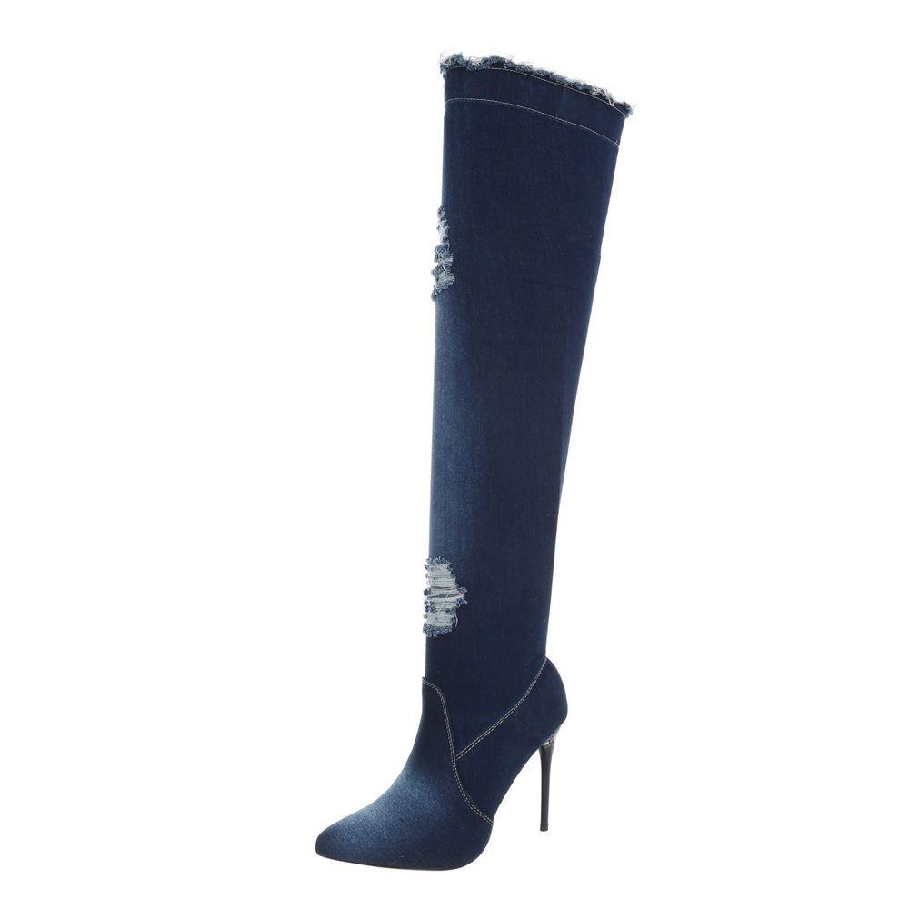 Ital-Design Chaussures Chaussures Femme Bottes Cuissardes et Bottines Aiguille Bottes Bottines Cuissardes Bleu Foncé Od-218 d1fe06d - piero.space