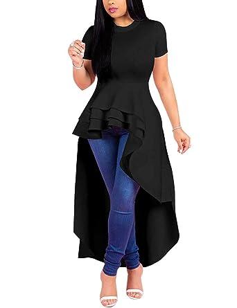 a9210d7d21b Angsuttc Women's Short Sleeve High Low Peplum Dress Bodycon Casual Party Club  Dress Black S