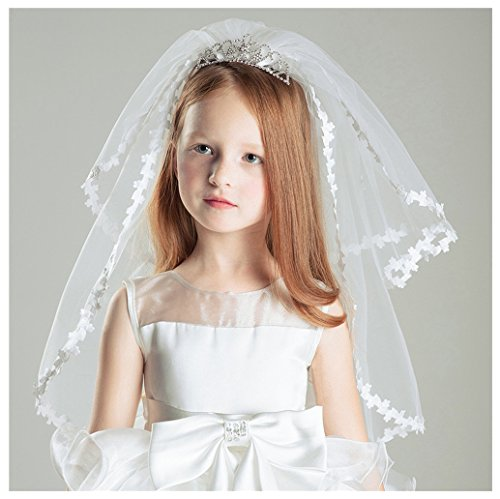 AliceHouse Girl's Two Layers Rhinestone Tiara Bridal Flower Girls Veil MGV09 by AliceHouse (Image #6)