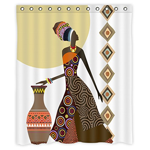 African Women Shower Curtain Decor by Mugod,Aztec Pattern African Woman With Vase Art Polyester Fabric Waterproof Bathroom Shower Curtain Set with 12 Hooks Size 60