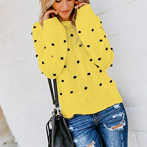 Youngh New Womens Sweatshirt Solid Dot Ball Loose Long Sleeve Casual Fashion Knitted Pullover Tops Sweater by Youngh Sweatshirt (Image #2)