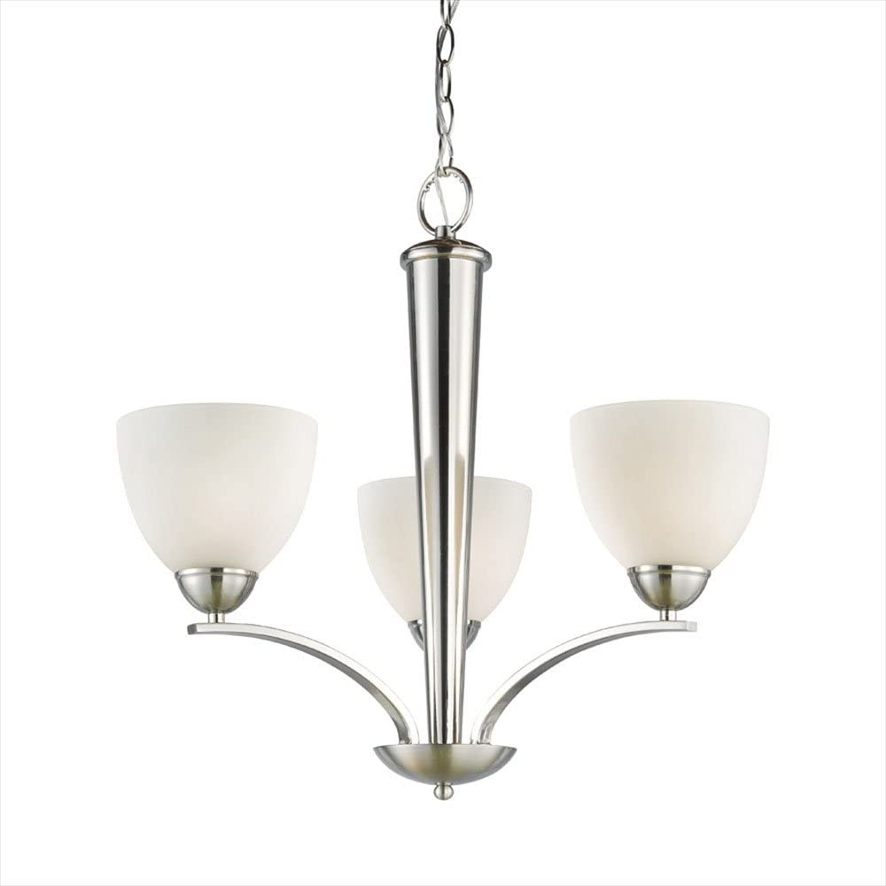 Satin Nickel Woodbridge Lighting 13013STN-M21WHT 23-Inch by 23-1//2-Inch North Bay 3-Light Chandelier