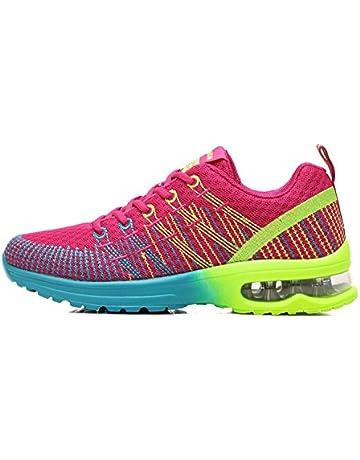72a07a22e431 Donna Scarpe da Running Sportive Corsa Sneakers Ginnastica Outdoor  Multisport Shoes Rosso Grigio 36