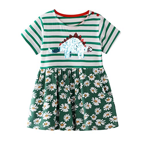 Little Girls Cotton Dress Floral Ruffle Skirt Cartoon Clothes for Kids 5T]()