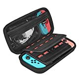 Simboom Nintendo Switch Case Protective Travel Carrying Case for Nintendo Switch Storage Pouch Water Resistant Hard Shell Case with Handle - Black