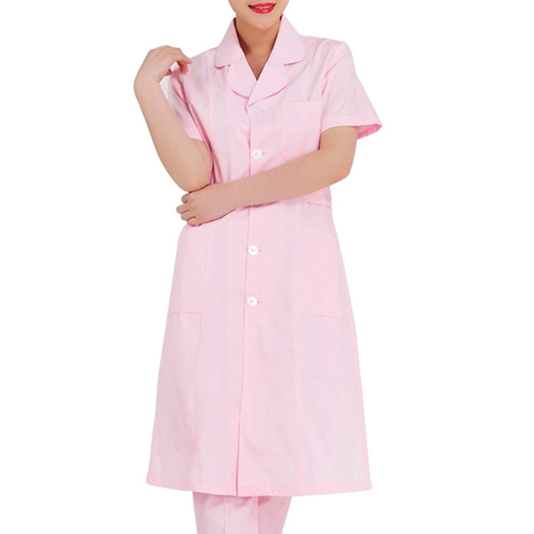 MedicalUniforms Summer Pink Short Sleeve Medical Science Lab Coats Uniform Chemistry Jackets For Women