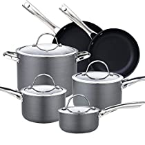 Cooks Standard NC-00347 10-Piece Hard Anodize Premium Grade Nonstick Cookware Set, Black