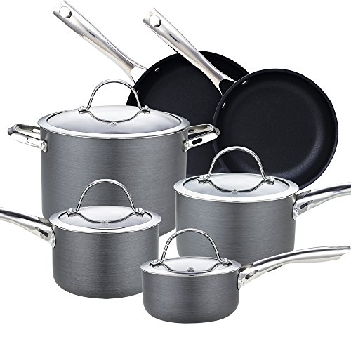 Cooks Standard NC-00347 10-Piece Hard Anodize Premium Grade Nonstick Cookware Set, Black ()