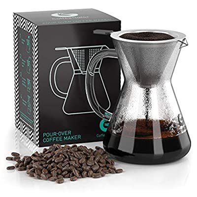 Coffee Gator Pour Over Brewer - Unlock Flavor with Paperless Filter and Carafe